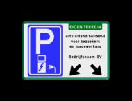 Parkeerbord elektrische voertuigen - eigen tekst - pijlen