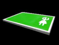 Wegmarkering oplaadpunt - groen parkeervak met belijning en symbool stekker