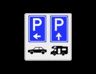 Parkeerroute bord met 4 pictogrammen