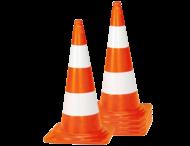 Afzetkegel PVC 750mm - set van 5 stuks - oranje/wit