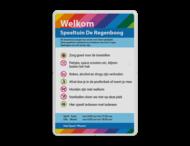 Informatiebord huisregels + logo full-colour opdruk