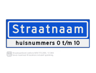 Straatnaambord KOKER 60x20cm - max. 10 karakters - met nummer verwijzing - NEN1772