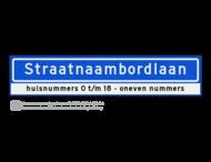 Straatnaambord KOKER 100x20cm - max. 18 karakters - met nummer verwijzing - NEN1772