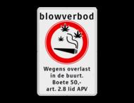 Verbodsbord Blowverbod - met boete