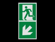 Haaks bord E001 - Nooduitgang links naar beneden met pijl