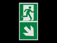 Haaks bord E002 - Nooduitgang rechts naar beneden met pijl