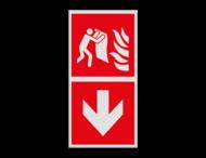 Haaks bord F016 - Richting Brandblusdeken