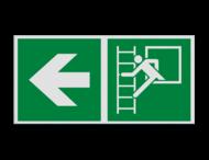 Haaks bord E016 - Vluchtraam met brandladder verwijzing