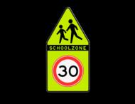 SCHOOLZONE-bord 500x1000mm met maximumsnelheid