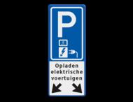 Verkeersbord parkeren elektrische voertuigen + pijlen - BE04f - Abel & Co
