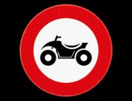 Verkeersbord SB250 C6 - Verboden toegang voor bestuurders van motorvoertuigen met vier wielen, geconstrueerd voor onverhard terrein