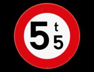Verkeersbord SB250 C21 - Verboden toegang voor bestuurders van voertuigen waarvan de massa in beladen toestand hoger is dan de aangeduide massa