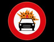 Verkeersbord SB250 C24b - Verboden toegang voor bestuurders van voertuigen die gevaarlijke ontvlambare of ontplofbare stoffen vervoeren