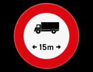 Verkeersbord SB250 C25 - Verboden voor voertuigen langer dan het aangeduide