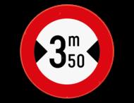 Verkeersbord SB250 C27 - Verboden voor voertuigen breder dan het aangeduide
