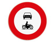 Verkeersbord SB250 C5-C7 - Verboden toegang voor motorvoertuigen en motorfietsen