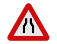 Verkeersbord SB250 A7a - Rijbaanversmalling
