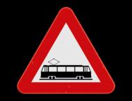 Verkeersbord SB250 A49 - Openbare weg kruist met sporen in de rijbaan