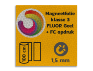 Magneetbord reflecterend FLUOR Geel klasse 3 geprint + full colour opdruk