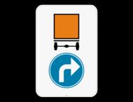Verkeersbord SB250 D4 rechts - Verplicht rechts voor voertuigen die gevaarlijke goederen vervoeren