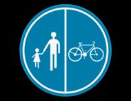 Verkeersbord SB250 D9b - Deel van de weg voorbehouden voor voetgangers en fietsers