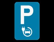 Verkeersbord SB250 E9a elektrisch laden - Parkeerplaats voorbehouden voor elektrisch opladen