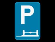 Verkeersbord SB250 E9e - Verplicht parkeren op de berm of op het trottoir