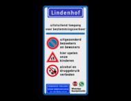 Toegangsbord - Spelende kinderen - Parkeerverbod - Drugs/Alcohol verboden
