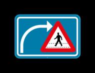 Verkeersbord SB250 F50bis - Opgepast als je van richting veranderd, voetgangers