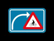 Verkeersbord SB250 F50bis - Opgepast als je van richting veranderd, fietsers