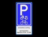 Verkeersbord fietsenstalling parkeren (brom)fietsen + eigen tekstg