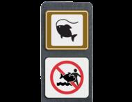 Verzwaarde bermpaal met aanduiding visplaats + verboden vissen mee te nemen