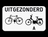 Verkeersbord SB250 M3 - Uitgezonderd fietsers en bromfietsers klasse A