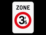 Verkeersbord SB250 ZC21 - Zone verboden toegang voor bestuurders van voertuigen waarvan de massa hoger is dan de aangeduide massa