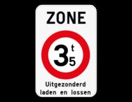 Verkeersbord SB250 ZC21T - Zone verboden toegang voor bestuurders van voertuigen waarvan de massa hoger is dan de aangeduide massa