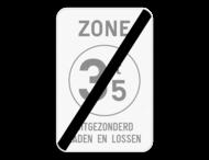 Verkeersbord SB250 ZC21T/ - Einde zone verboden toegang voor bestuurders van voertuigen waarvan de massa hoger is dan de aangeduide massa