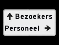 Parkeerroutebord 2 regelig + pijl links / rechts - eigen tekst