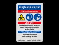Veiligheidsbord - COVID-19 maatregelen met iconen - 01