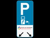 Parkeerbord E9 elektrisch laden + logo + pijl aanduiding