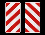 Markeringsborden rechthoekig rood/wit reflecterend - set 2 stuks (links/rechts)