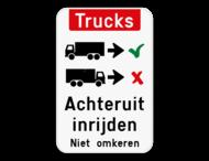 Informatiebord - Trucks achteruit inrijden