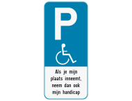 Parkeerbord E9 mindervaliden + Eigen tekst