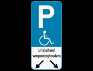 Parkeerbord E9 mindervaliden - Eigen tekst - Pijlen