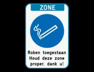 Rookzone bord met eigen tekst