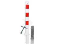 Antiparkeerpaal 70x70mm rood/wit - neerklapbaar en verwijderbaar met grondstuk