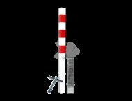 Antiparkeerpaal 70x70mm rood/wit - verwijderbaar met grondstuk