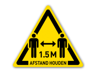 Waarschuwingspictogram - houd 1,5 meter afstand
