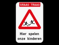 Verkeersbord - Graag traag Spelende kinderen