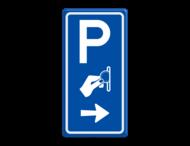 Verkeersbord RVV BW111 - Betaald parkeren met aanpasbare pijlrichting