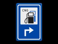 Verkeersbord RVV BW101Sp18 - CNG pompstation met aanpasbare pijlrichting